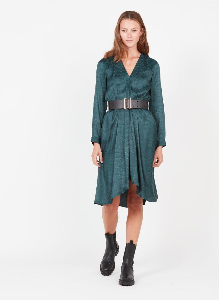 SEE U SOON Robe col V en jacquard Vert