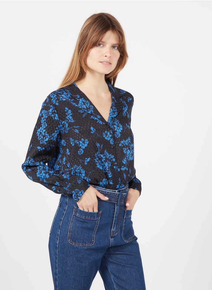 SUNCOO Chemise col tailleur imprimé fleuri Bleu