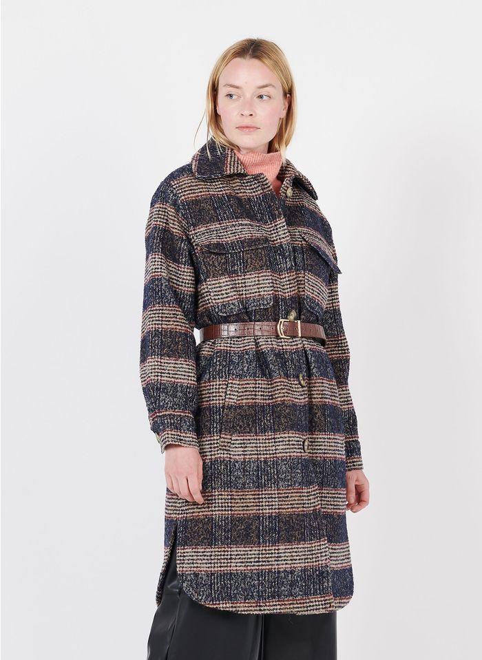 SUNCOO Manteau col classique à carreaux en laine mélangée Bleu