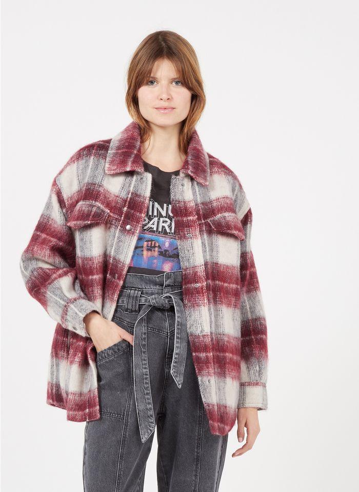 SUNCOO Manteau col classique à carreaux en laine mélangée Rouge