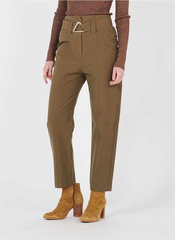 SUNCOO Pantalon carotte en coton mélangé Kaki