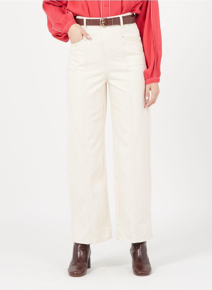 SUNCOO Pantalon large taille haute  Blanc