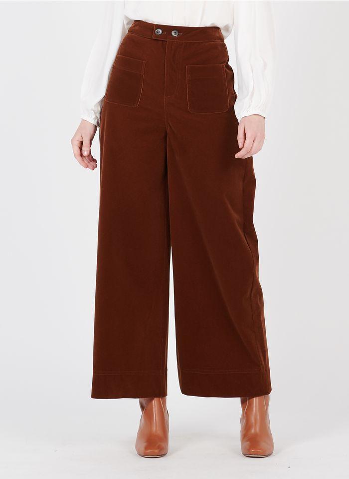 SUNCOO Pantalon large taille haute en velours Marron