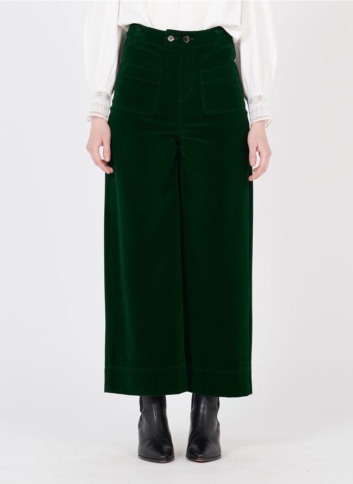 SUNCOO Pantalon large taille haute en velours Vert