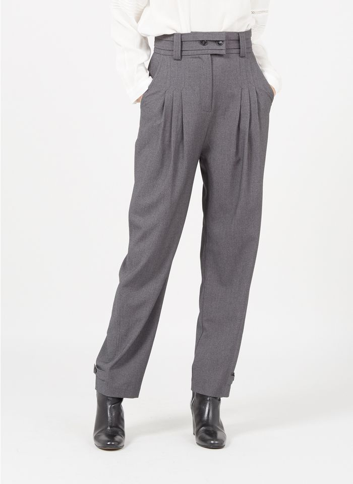 SUNCOO Pantalon large taille haute Gris