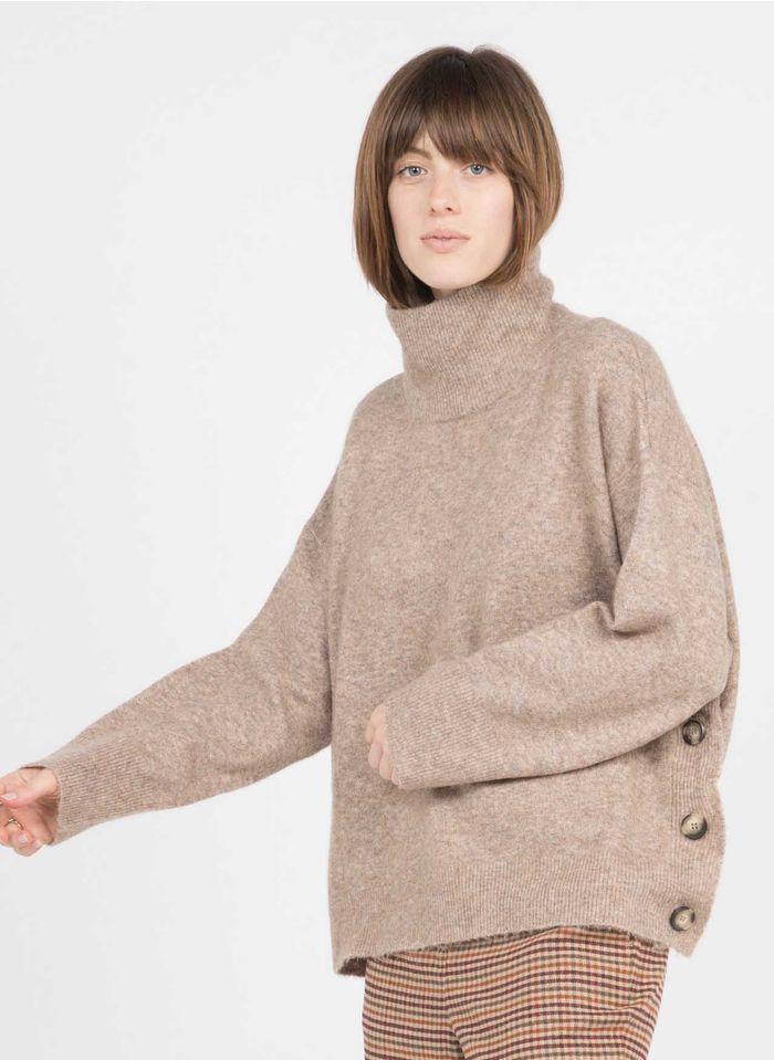 SUNCOO Pull ample col montant en laine mélangée  Marron