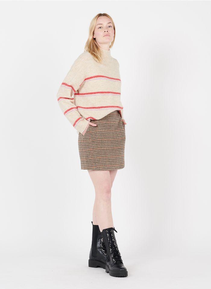 SUNCOO Jupe courte à carreaux en laine mélangée Marron