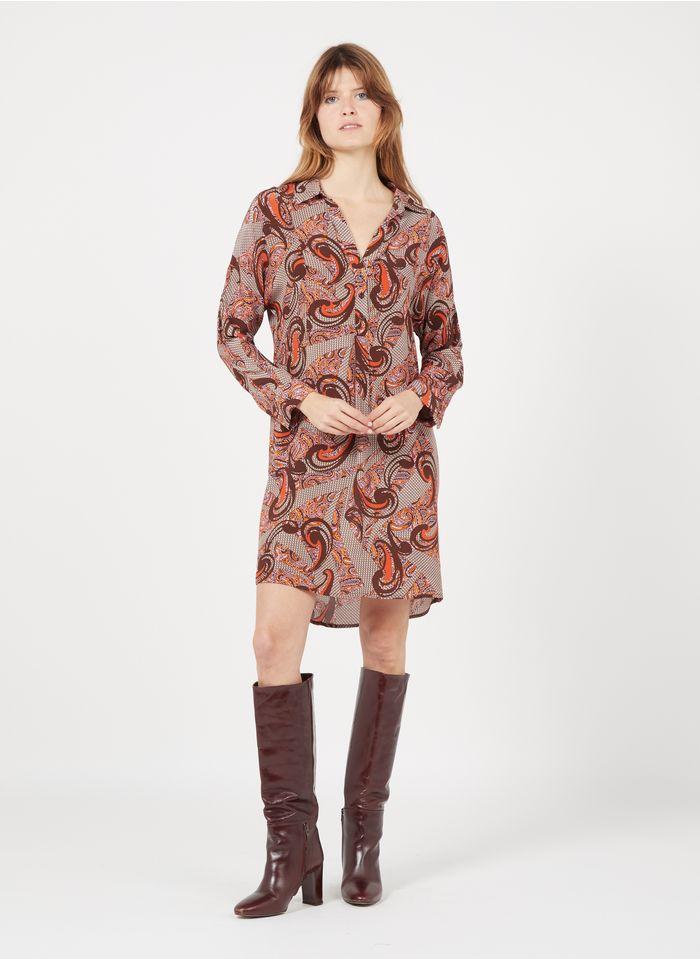 SUNCOO Robe courte col classique imprimée  Marron