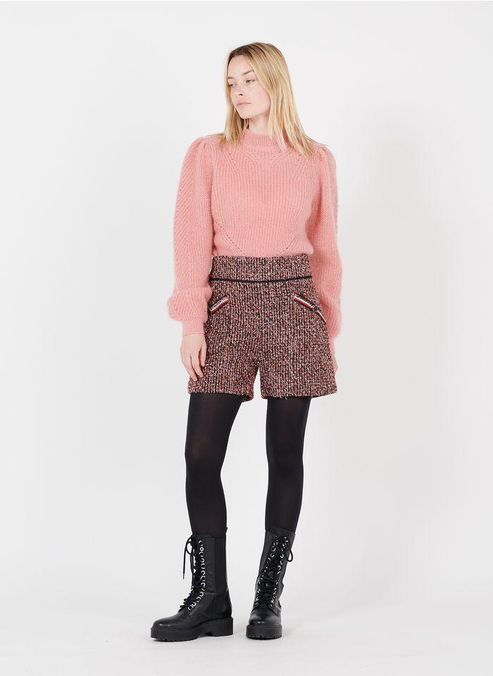 SUNCOO Short taille haute en tweed Rouge