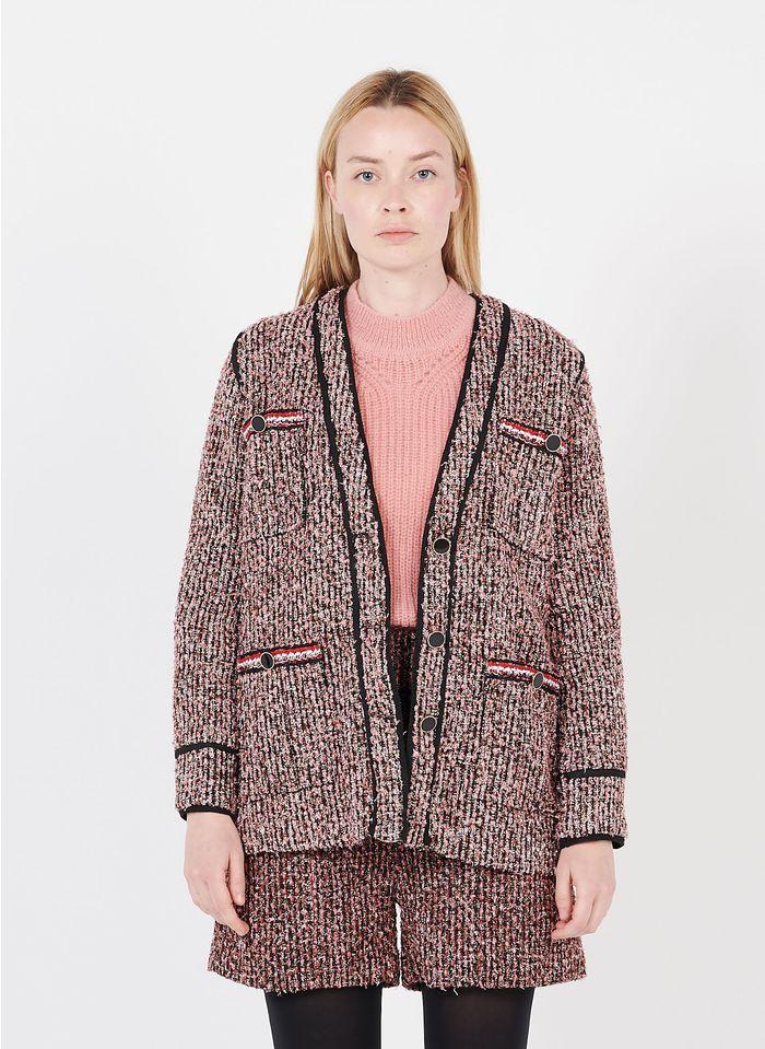SUNCOO Veste col V en tweed Rouge
