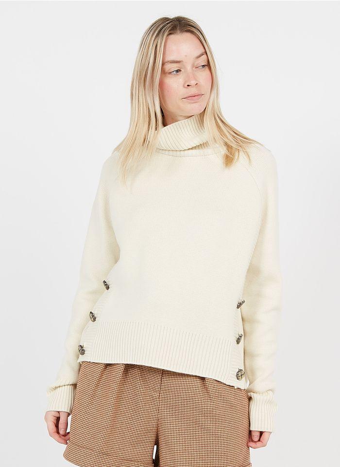 TARA JARMON Col roulé ample en laine mélangée Blanc