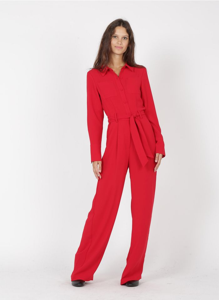 TARA JARMON Combinaison évasée col chemise en crêpe  Rouge