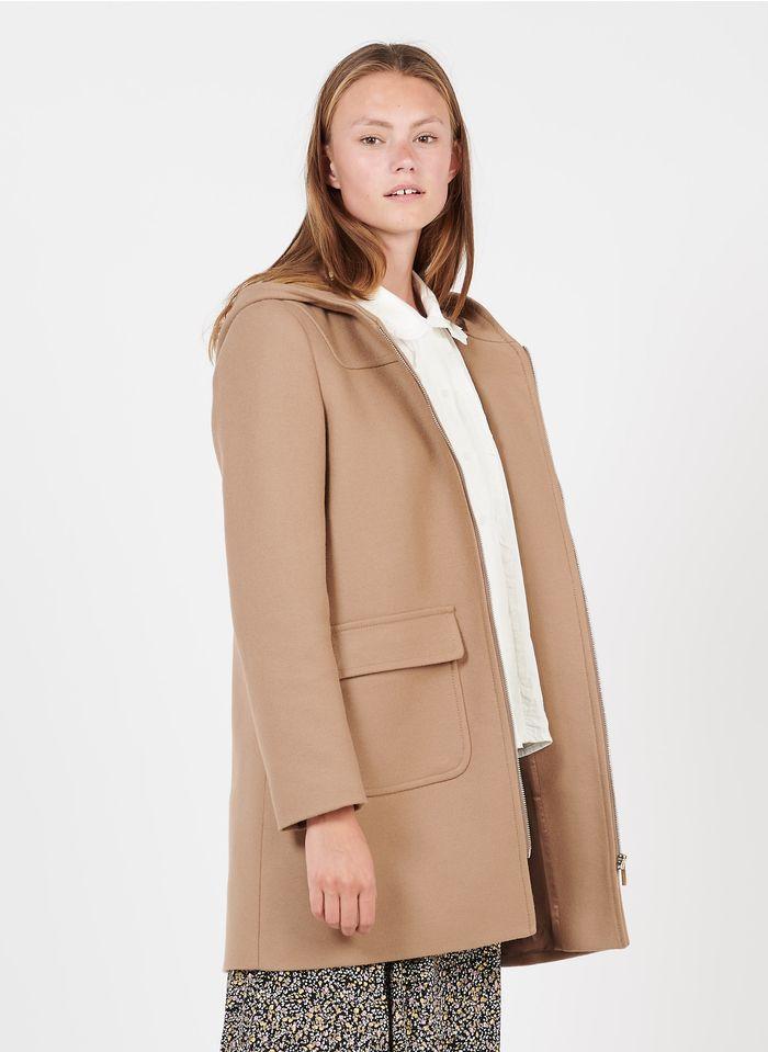 TARA JARMON Manteau à capuche en laine et cachemire mélangés Beige