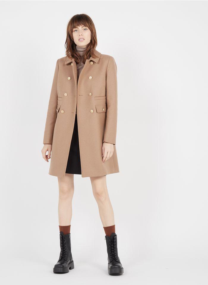TARA JARMON Manteau col classique en laine mélangée Beige