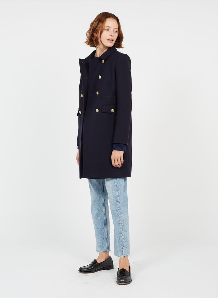 TARA JARMON Manteau col classique en laine mélangée Bleu
