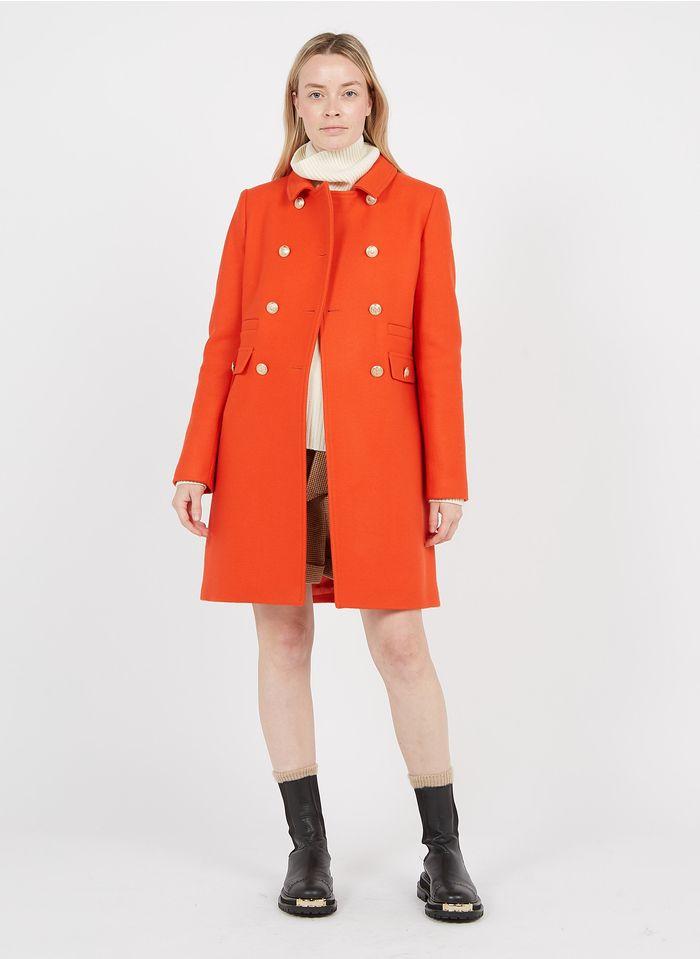 TARA JARMON Manteau col classique en laine mélangée Orange