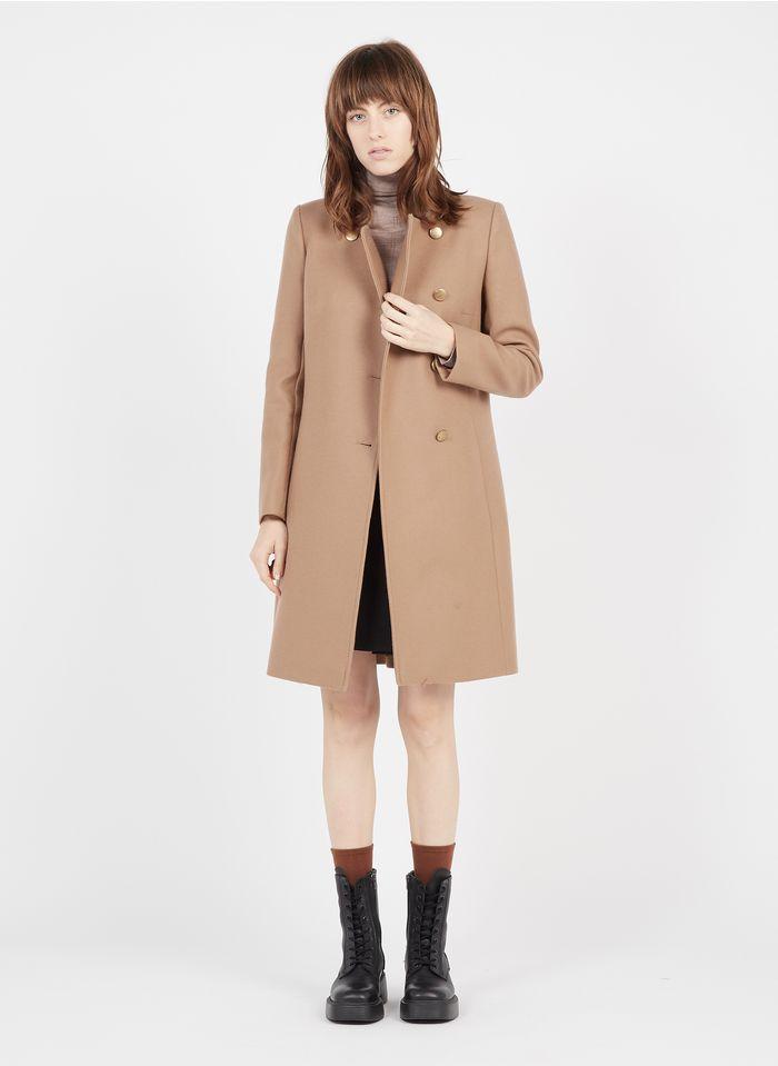 TARA JARMON Manteau col rond en laine mélangée Beige