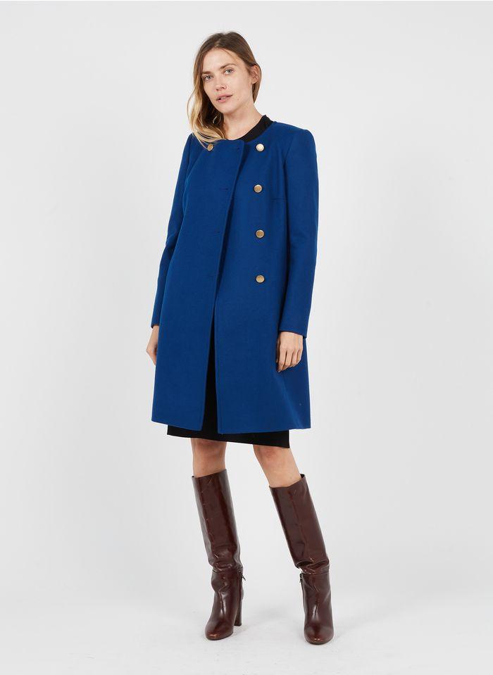 TARA JARMON Manteau col rond en laine mélangée Bleu