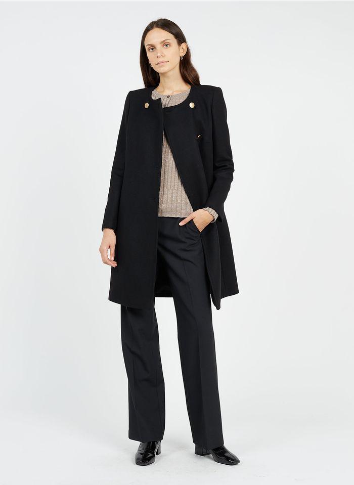 TARA JARMON Manteau col rond en laine mélangée Noir