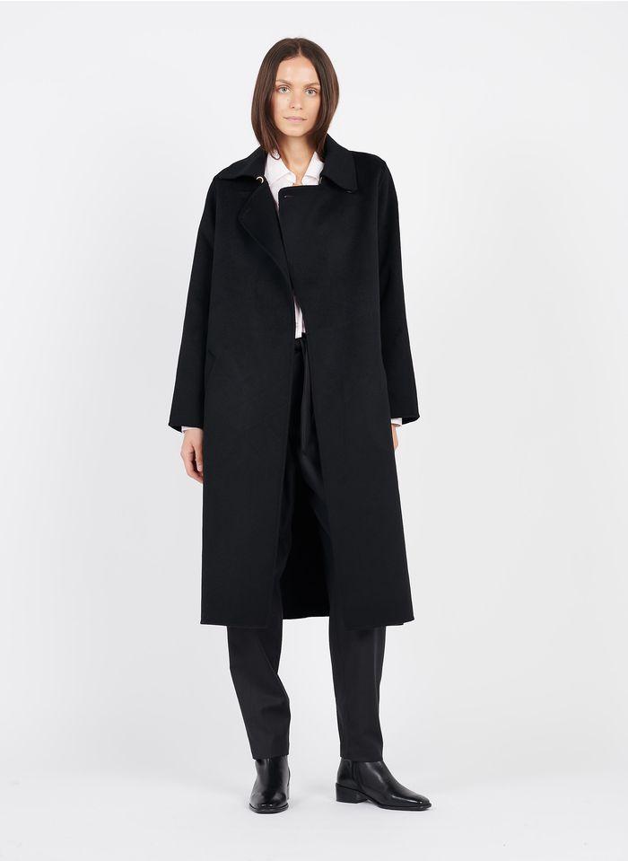 TARA JARMON Manteau long col classique en laine mélangée  Noir
