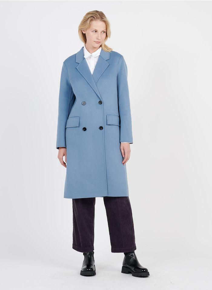 TARA JARMON Manteau long col tailleur en laine mélangée  Bleu