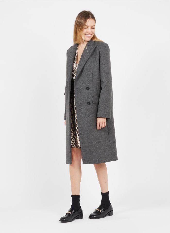 TARA JARMON Manteau long col tailleur en laine mélangée  Gris
