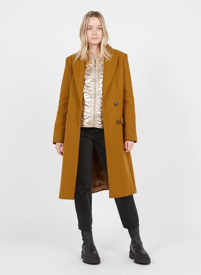 TARA JARMON Manteau long col tailleur en laine mélangée  Marron