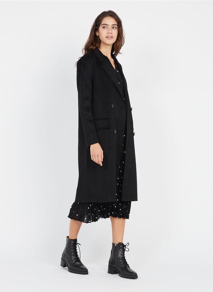 TARA JARMON Manteau long col tailleur en laine mélangée  Noir
