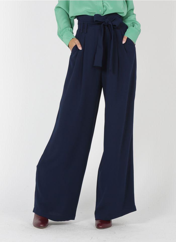 TARA JARMON Pantalon large taille haute en crêpe Bleu