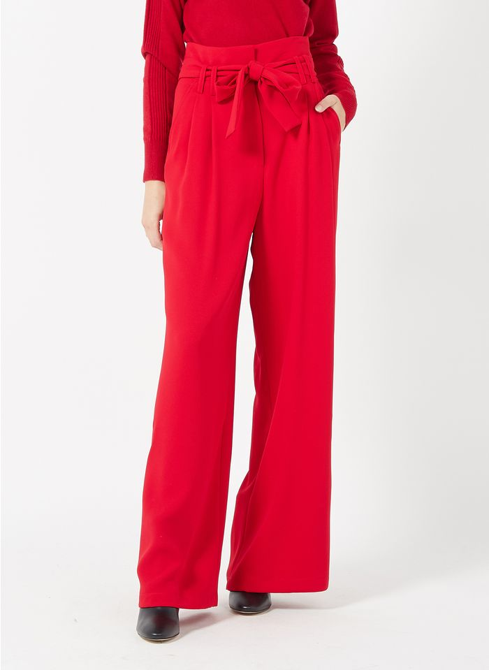 TARA JARMON Pantalon large taille haute en crêpe Rouge