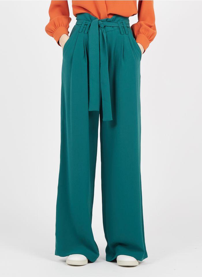 TARA JARMON Pantalon large taille haute en crêpe Vert