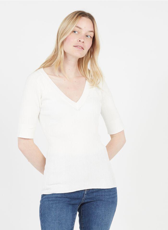 TARA JARMON Pull col V en coton Blanc