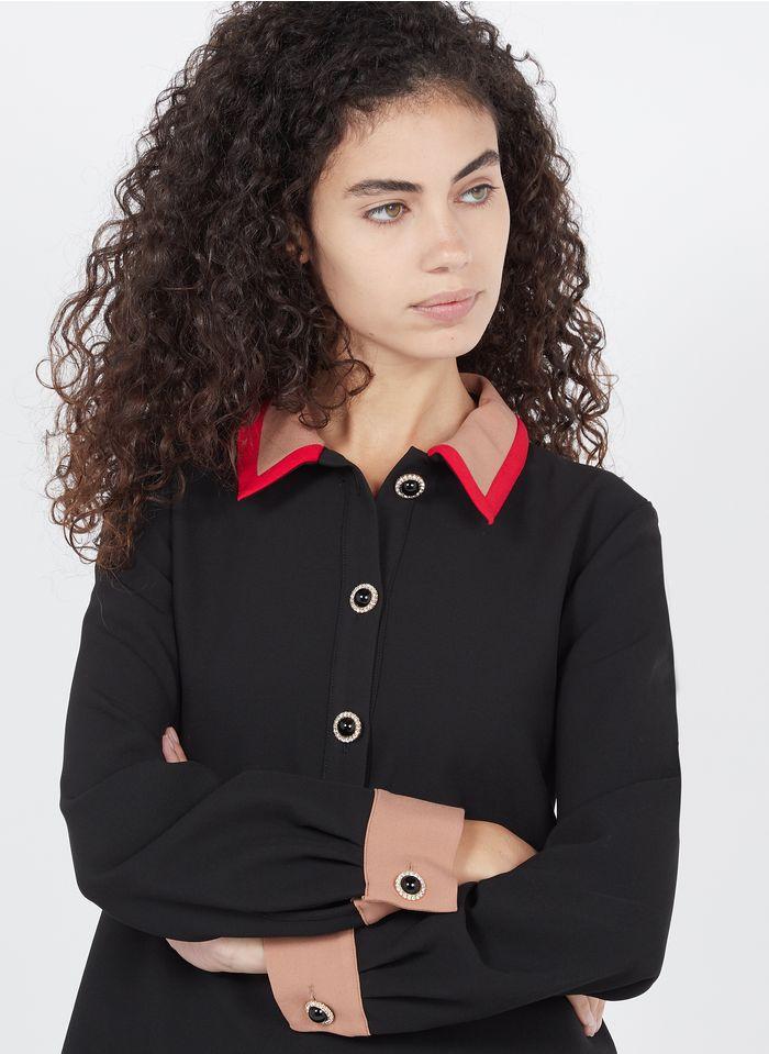 TARA JARMON Robe courte col classique  Noir