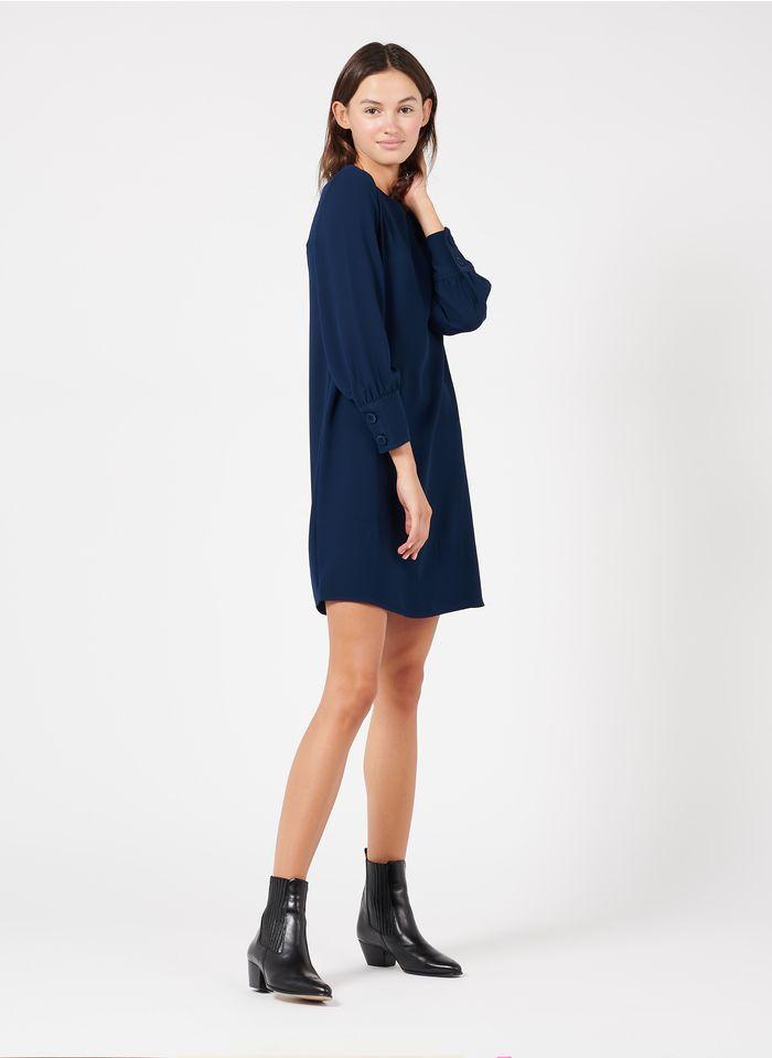 TARA JARMON Robe courte col rond en crêpe  Bleu