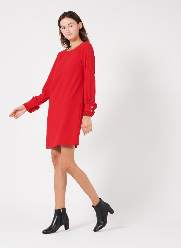TARA JARMON Robe courte col rond en crêpe Rouge