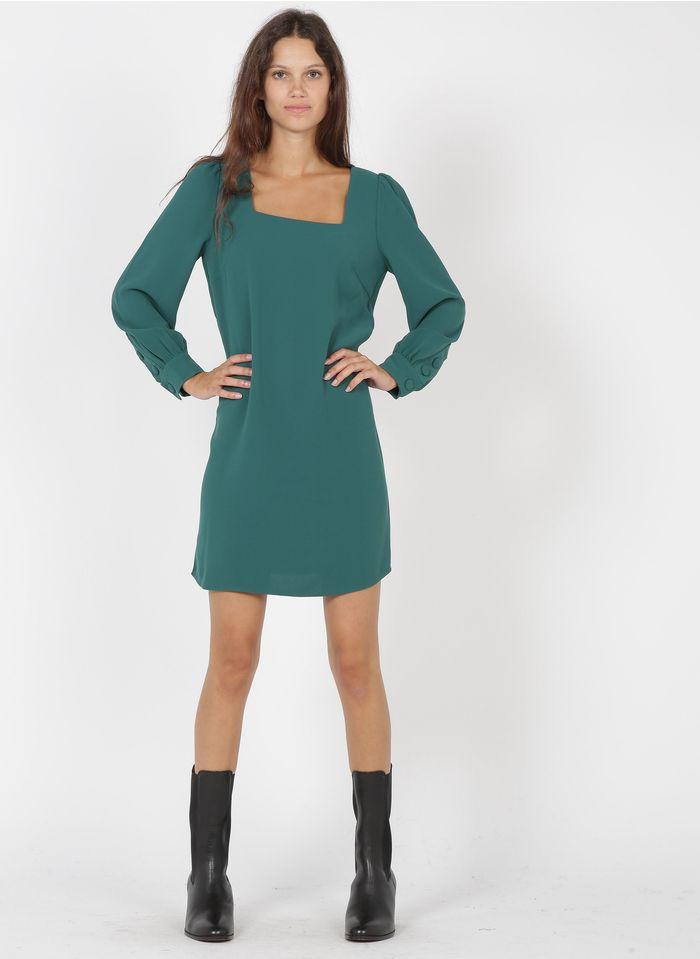 TARA JARMON Robe courte décolleté carré en crêpe  Vert