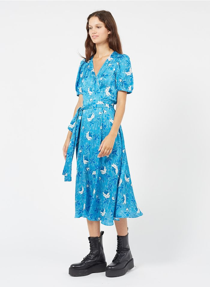 TARA JARMON Robe midi portefeuille imprimée Bleu