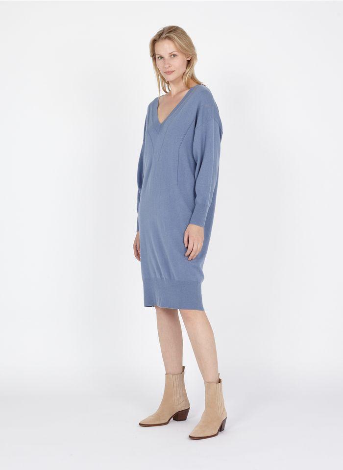TARA JARMON Robe pull col V ample en laine et cachemire Bleu