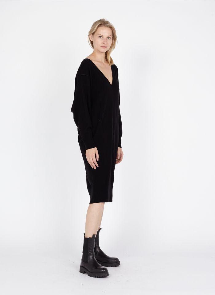 TARA JARMON Robe pull col V ample en laine et cachemire Noir