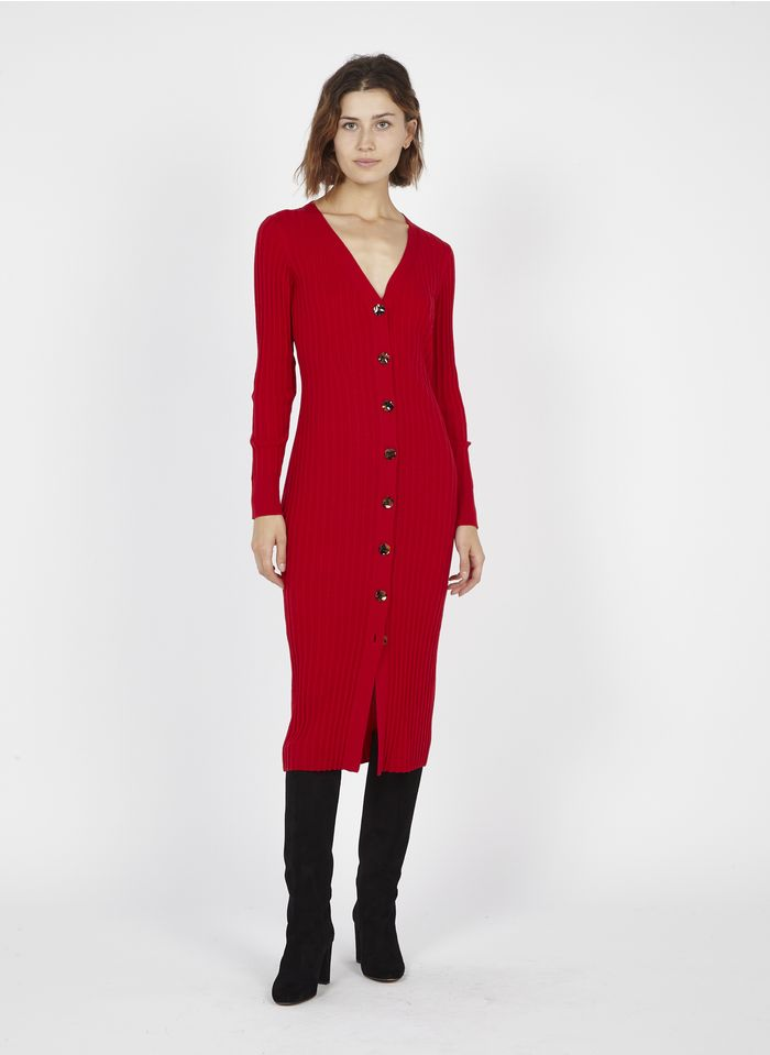 TARA JARMON Robe pull midi en laine Rouge