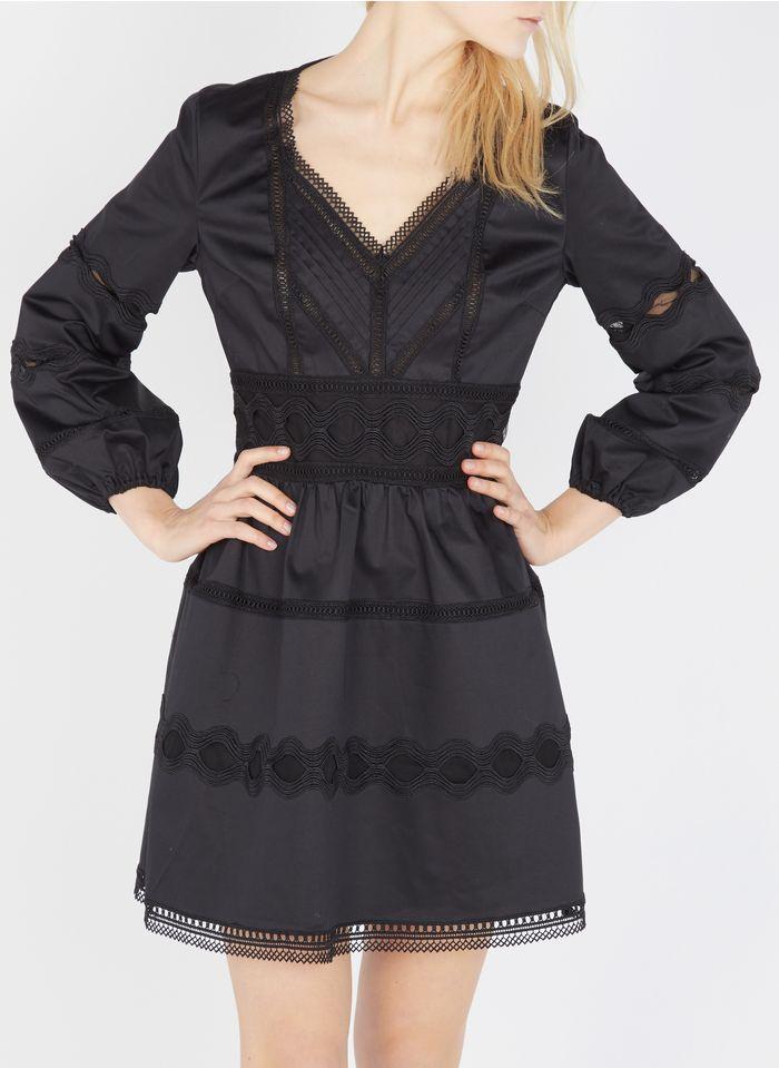THE KOOPLES Robe courte décolletée à galon brodé en coton Noir