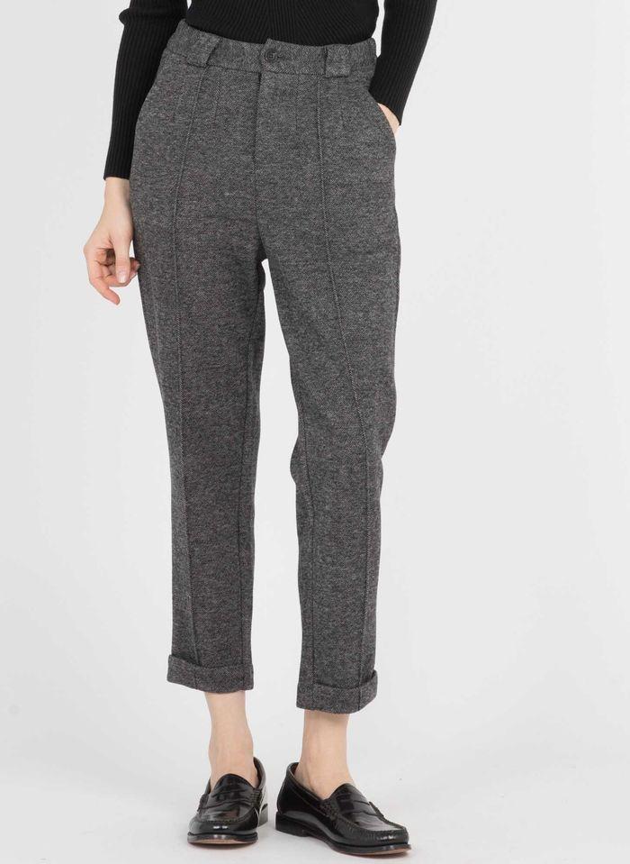 THE KORNER Pantalon droit taille haute  motif chevrons  Gris