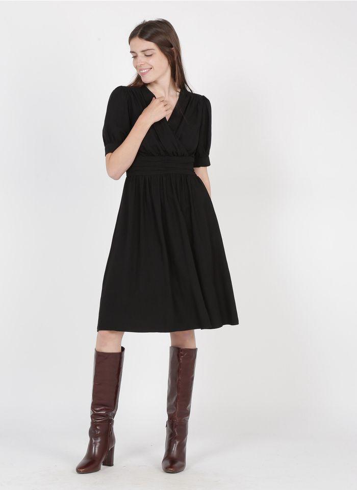 THE KORNER Robe courte col V Noir