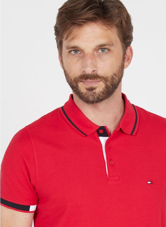 TOMMY HILFIGER Polo slim fit en coton Rouge