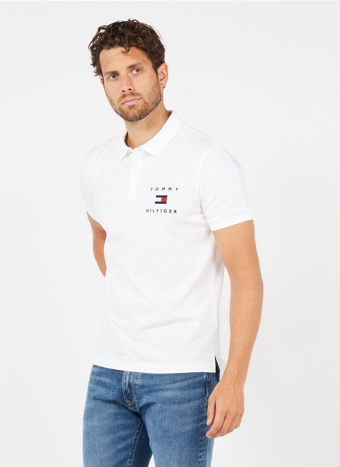 TOMMY HILFIGER Polo standard en coton avec logo Blanc