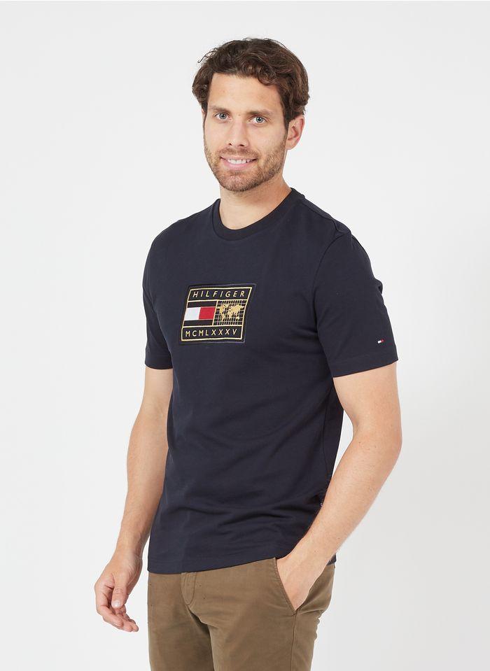 TOMMY HILFIGER Tee-shirt col rond brodé en coton organique Bleu