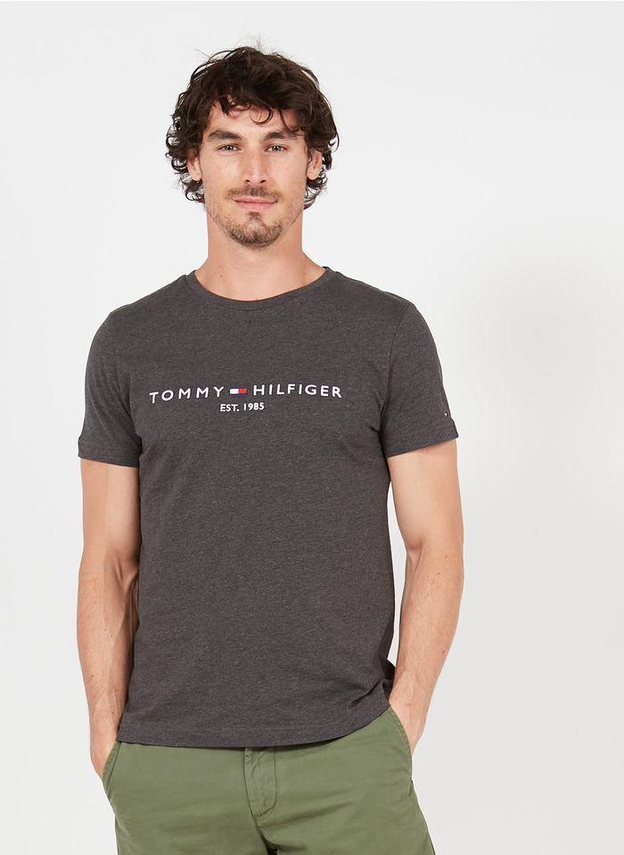 TOMMY HILFIGER Tee-shirt col rond brodé en coton organique Gris