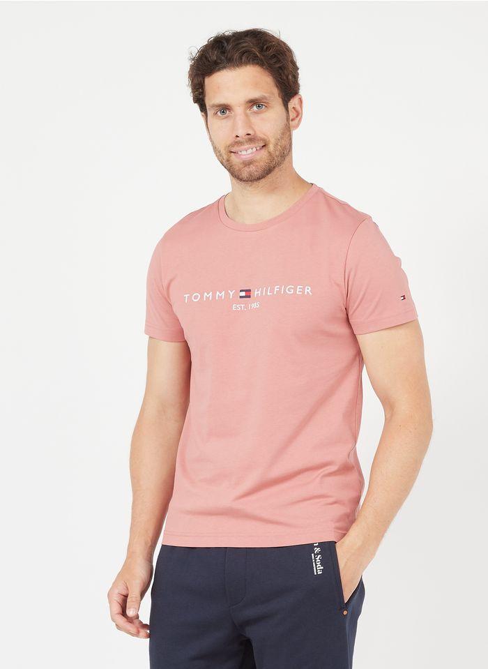 TOMMY HILFIGER Tee-shirt col rond brodé en coton organique Orange
