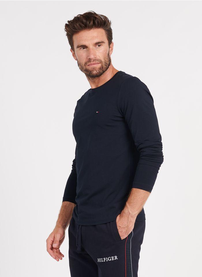 TOMMY HILFIGER Tee-shirt col rond regular-fit brodé en coton bio Bleu