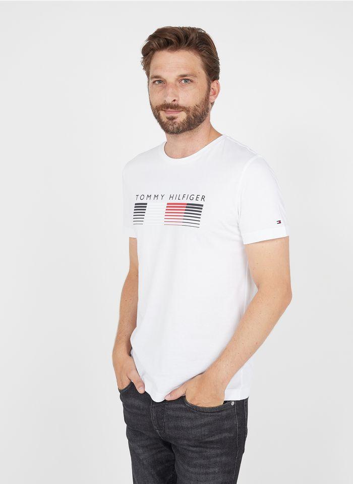 TOMMY HILFIGER Tee-shirt col rond regular-fit sérigraphié en coton bio Blanc